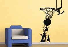 Wall Decals - Basketball Hoop 1 Wall Decal - Great Sports Home Decor