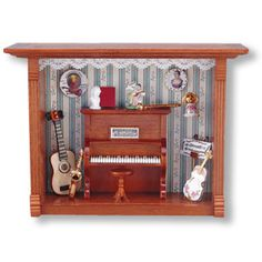 "Music Room Shadowbox. Item Dimensions 8"" L x 3"" W x 6"" H. Item sold complete as shown! Accessories are permanently affixed to furniture piece. This is a scale miniature & not intended for children und"