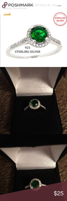 NEW SPINAL GREEN STONE SET IN 925 STERLING SILVER NEW STUNNING RING! CENTER SPINAL GREEN ELEMENT SURROUNDED BY WHITE CLEAR CZ SETTING IN 925 STERLING SILVER! AMAZINGLY BEAUTIFUL!! SIZE 7 includes black velvet gift box Jewelry Rings