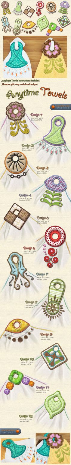 ANYTIME TOWEL HANGERS Embroidery Designs Free Embroidery Design Patterns Applique