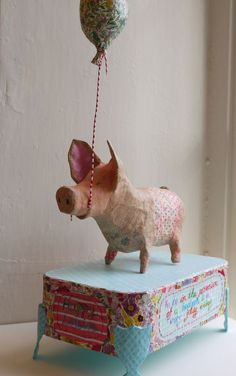 take on the papier mache pig - Dagmar Gräbner- . -another take on the papier mache pig - Dagmar Gräbner- . - Want to know more about Origami Do You Mind If I Knit. Evangeline The Pig. Paper Mache Projects, Paper Mache Clay, Paper Mache Sculpture, Paper Mache Crafts, Art Projects, Paper Mache Animals, Newspaper Crafts, Newspaper Basket, Origami Animals