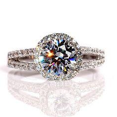 1.6 carats Moissanite Diamond Halo twin shank Wedding ring / proposal Ring / Engagement Ring