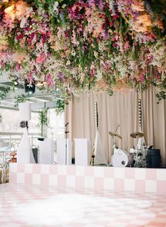 Romantic, whimsical, lush... this February wedding on a lake in Texas is chock full of our favorite things. No surprise they all involve flowers! A winding flower aisle ceremony just off the water, a pink checkered dance floor canopied by a fresh floral ceiling, mid-century modern lounges with rattan chairs, geometric bars and velvet upholstery... we should just let you see it with your own eyes, yes? Forest Wedding Reception, Luxe Wedding, Ballroom Wedding, Magical Wedding, Wedding Reception Decorations, Wedding Ideas, Unique Wedding Cakes, Whimsical Wedding, Wedding Locations