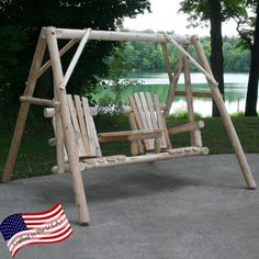 Lakeland Mills Tete-a-Tete Yard Swing Set. Northern White Cedar with pine tabletop. Natural wood surface with no finish. A-frame stand is included. Stand dimensions: x x inches.