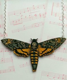 Our death head moth necklace is a real statement piece - wonderfully striking and in fantastic autumnal colours. Our moths have been made by