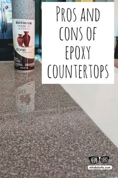 pros and cons of epoxy countertops. Stone spray paint with epoxy resin. kitchen countertops Spray Painted Epoxy Resin Countertops – Testing Four Styles Spray Paint Countertops, Painting Kitchen Countertops, Countertop Makeover, Resin Countertops, Epoxy Countertop, Kitchen Paint, Diy Kitchen, Painted Laminate Countertops, Rustoleum Countertop Transformations
