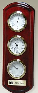 Rosewood Piano Wood Wall Clock w/ Thermometer & Hygrometer
