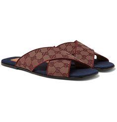 Gucci Original Gg Suede-trimmed Slides In Beige Black Leather Sandals, Brown Sandals, Men's Sandals, Gucci Men, Gucci Polo Shirt, Gucci Bracelet, Brown Flip Flops, Gucci Brand, Toile