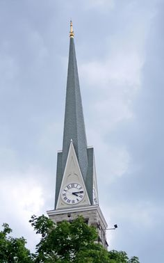 Church steeple with clock in Shippensburg, Pennsylvania.