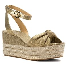 online shopping for MICHAEL Michael Kors Womens Maxwell Cotton Open Toe Casual Platform Sandals from top store. See new offer for MICHAEL Michael Kors Womens Maxwell Cotton Open Toe Casual Platform Sandals Leather Gladiator Sandals, Gold Sandals, Michael Kors Fashion, Michael Kors Shoes, Platform Wedges Shoes, Wedge Shoes, Espadrilles, Peep Toe Wedges, Women's Wedges