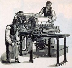 William Rutt's Printing Machine - an engraving made in 1825 Vintage Newspaper, Printing Press, Vintage Prints, Golden Age, Letterpress, Statue, History, Tool Shop, Printers
