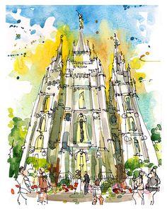 Salt Lake City, Templo de lago salado, Templo Mormón, Utah - archivo de obras de arte, impresión de un boceto de acuarela original