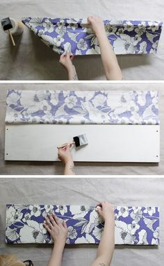 How to Decoupage Fabric Onto Shelves - Mod Podge Rocks - How to Decoupage Fabric Onto Shelves – Mod Podge Rocks Looking to switch up your decor? Learn how to decoupage fabric onto shelves. This is such an easy DIY with a big impact. Mason Jar Crafts, Mason Jar Diy, Furniture Makeover, Diy Furniture, Painted Furniture, How To Decoupage Furniture, Furniture Design, Decoupage How To, Fabric Covered Furniture