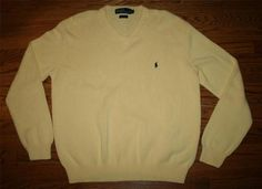 Men's POLO RALPH LAUREN Cotton v-neck SWEATER-LARGE-golf/executive/fab/FREE SHIP