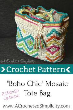 "Crochet Pattern - ""Boho Chic"" Mosaic Tote Bag by A Crocheted Simplicity #crochet #crochetpattern #crochetbag #crochetbagpattern #bohocrochet"