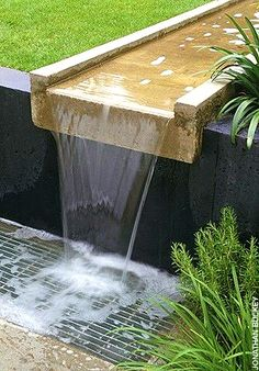 Why You Should Invest In Simple Water Features For Your Home Garden – Pool Landscape Ideas Modern Water Feature, Outdoor Water Features, Backyard Water Feature, Water Features In The Garden, Landscape Plans, Landscape Design, Garden Design, Pond Waterfall, Small Waterfall