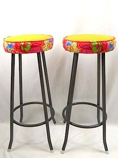 Pair chartreuse leather high stools