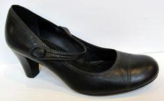 ECCO Black Leather Cap Toe Mary Jane Pump Size 38/US 7-7.5 #Ecco #MaryJanes