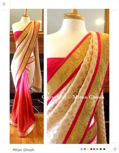 Crepe jacquard saree with Banarsi brocade palla.