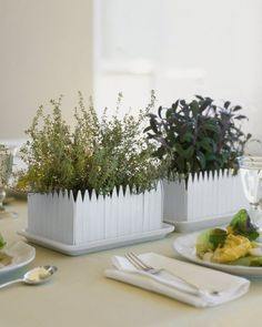 "See the ""Herb-Garden Centerpiece"" in our Simple Baby Shower Centerpieces gallery These leafy, picket-fence centerpieces are simple to make and would filll any room with a welcoming fragrance. Edible Centerpieces, Baby Shower Centerpieces, Centerpiece Ideas, Quinceanera Centerpieces, Simple Centerpieces, Wedding Centerpieces, Wedding Decorations, Table Decorations, Fence Planters"