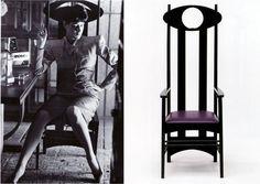 Rachel sits in an Argyle chair by Charles Rennie Mackintosh