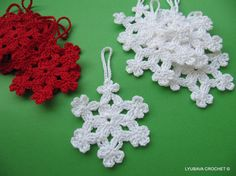 Snowflake Crochet Pattern INSTANT DOWNLOAD. This elegant snowflakes will look beautiful on your Christmas Tree and Winter Holiday Party decorations. You can use this snowflakes for making your very own Christmas cards. Make a lovely Christmas gifts using this easy to follow pattern.  Skill Level: Easy to Intermediate. Finished Measurement approx: 3.3/4 in (9.5 cm) in diameter.  CROCHET PATTERN PDF FILE with detailed step-by-step easy to follow instructions written in American crochet terms…