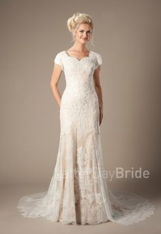 modest wedding dresses   Josephine   LatterDayBride & Prom   SLC   Utah   Worldwide Shipping   This amazing modest wedding dress features a soft lace overlay, sweetheart neckline, and mermaid silhouette.  Gown available in White, Ivory or Champagne/Mocha/Ivory  *Gown pictured in Champagne/Mocha/Ivory  Sleeve length or neckline can be customized.