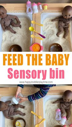 Feed the Baby Sensory Bin - HAPPY TODDLER PLAYTIME Here is an adorable and simple to set up Montessori sensory bin for toddlers and preschoolers. Feed the baby toddler sensory bin is such fun way to practice and teach self care to toddlers. Toddler Sensory Bins, Baby Sensory, Sensory Play, Toddler Preschool, Sensory Diet, Toddler Learning, Early Learning, Motor Skills Activities, Sensory Activities