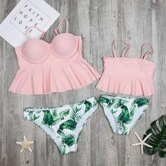 Mother & Kids Special Section Sand Beach Family Matching Swimwear Ruffled Mother Daughter Swimsuits Dad Son Men Boys Trunks Mommy And Me Clothes Outfits Look