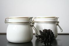 vintage milk glass canisters