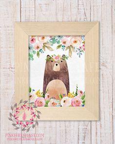 Boho Floral Bear Woodland Printable Print Wall Art Watercolor Baby Nursery Home Decor