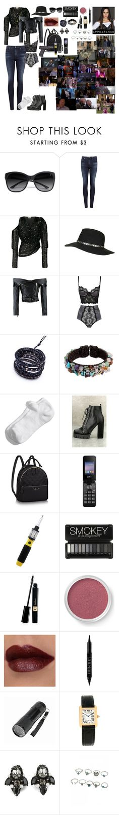 """""""Rebekah """"Beks"""" Reddington sneaks into the """"Post Office"""" to help the FBI and her father - along with Agent Keen - to capture Ranko Zamani"""" by andyarana ❤ liked on Polyvore featuring GUESS by Marciano, AG Adriano Goldschmied, Magda Butrym, Topshop, NAKAMOL, NOVICA, Zella, So Me, Bare Escentuals and Forever 21"""