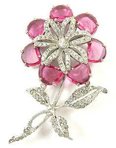 REINAD Pave & Fuchsia Pink Demilunes Giant Flower Pin