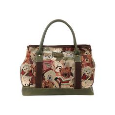 Women's Nicole Lee Reiny Bear Tapestry Shopper - Green Casual Handbags (210 ILS) ❤ liked on Polyvore featuring bags, handbags, tote bags, casual footwear, casual handbags, green, clear tote, zip top tote bag, shopping tote bags and clear tote bags