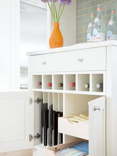 Stylish Built-in -Turn cubbies into 2nd drawer. Maybe inside cabinet drawers.