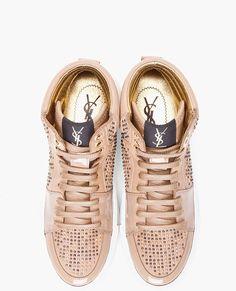 embellished sneakers   Yves Saint Laurent Beige Embellished Malibu Sneakers in Beige - Lyst
