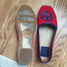 Read and navy tory burch espadrilles Red and navy great condition worn a few time but they're a little big on me any questions just ask.... purchased at Bloomingdales Tory Burch Shoes