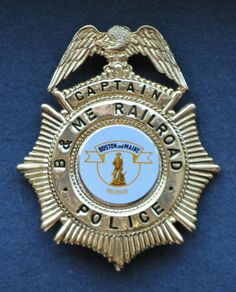 Boston and Maine Railroad Police Captain Badge B&MRR Guilford Pan Am Railway Law Enforcement Badges, Badge Holders, Michael Kors Watch, Maine, Boston, Police, Patches, Licence Plates, Law Enforcement