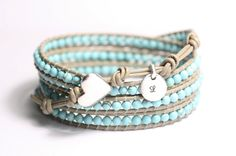 Leather wrap bracelet turquoise beads by simplyyoujewelry on Etsy, $62.00