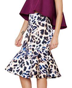 Leopard Slim Fit High Waist Flouncing Skirt