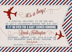 Vintage Airplane or Aviation Baby Shower Invitation