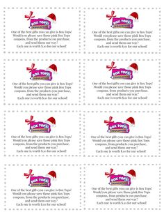 """Give every kid in the school a copy of these Box Tops """"business cards"""" to cut out and include with family Christmas cards. Hopefully, our school will wrack up on Box Tops with help from friends and family! [document format]"""
