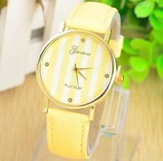 Reloj Geneva Lines Platinum,Amarillo $6.000