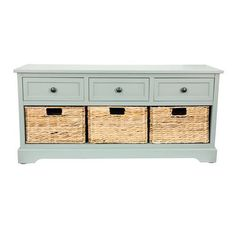 Perfect for your coastal cottage-inspired entryway, this Decor Therapy Montgomery Bench has a classic design, smart storage, and three seagrass. Indoor Storage Bench, Storage Bench With Baskets, Entryway Bench Storage, Entry Bench, Storage Drawers, Entryway Decor, Foyer, Wooden Drawers, Smart Storage