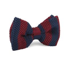 Maroon with Navy Blue Striped Knitted Bow Tie |   Men's Suit Knitted Bow Tie for Men | Mens Wedding Knit Bow Tie Normal Knits Bow Tie Width Handmade Gentlemen Accessories for Guys | Buy Knitted Bow Tie Online Shop Australia | Knitted Bow Tie Men's Fashions | OTAA