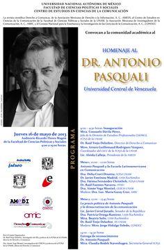 Dr. Antonio Pasquali, homenaje en la UNAM (INVITACIÓN)
