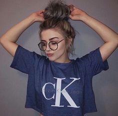 Casual Crop top extra size with messy bun is good style, but with this nerd glasses it's another great style  .. change your style from good to perfect one