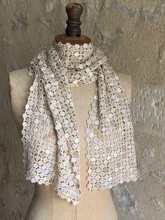 Crochet Scarves, Crochet Shawl, Hand Crochet, Crochet Lace, Crochet Stitches, Teal Scarf, Wool Shop, Double Crochet, Knitting
