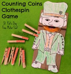Counting Coins Clothespin Game for Preschoolers- St. Patrick's Day Craft for Kids- Fine Motor Fridays - from LalyMom  #FineMotor #CreativeMamas #KBN