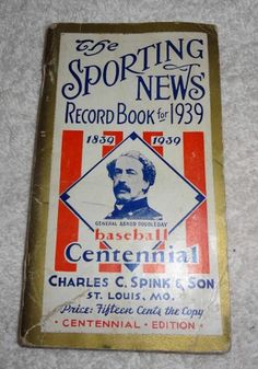 VINTAGE THE SPORTING NEWS RECORD BOOK FOR 1939 BASEBALL 1839-1939 CENTENNIAL ED